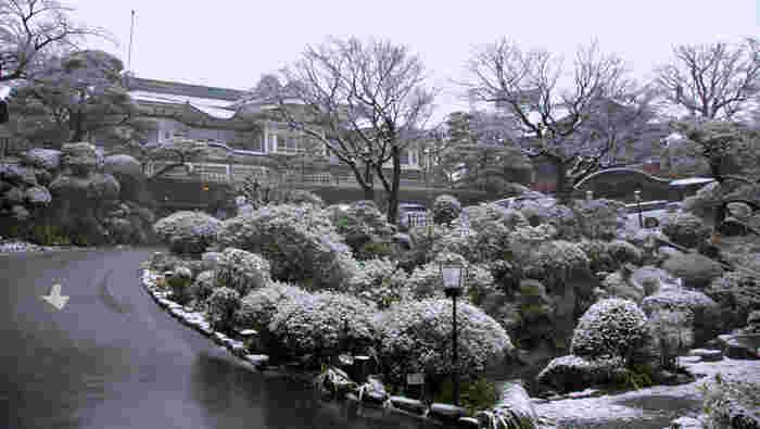 また、富士屋ホテルの庭園は、四季折々の景色を楽しむことができるとあって人気です。広大な敷地を持つ庭園は、20分ほどかけて散策できるように作られているそうです。今の季節は雪が積もることもあるそう。雪が覆いかぶさった庭園も、趣があって素敵ですよ。海外のような雰囲気の中で、優雅でクラシカルな気分を味わいたいときは、富士屋ホテルを訪れるといいかもしれません。