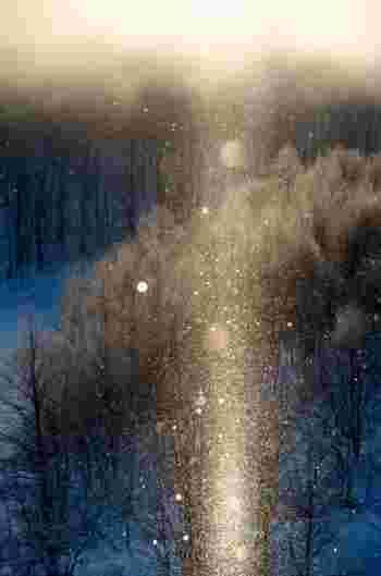 とても寒いけど、冬は運が良ければダイヤモンドダストや、サンピラー(太陽柱)を見ることができるかも。