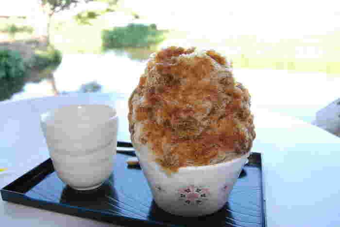 栃木県佐野市にお店を構える【菊水苑】さん。天然氷のがき氷のお店です。川辺のテーブル席で食べるかき氷は、豊かな時間を与えてくれます。こちらは「黒糖」のかき氷、懐かしい甘さが口いっぱいに広がり上品なお味です。