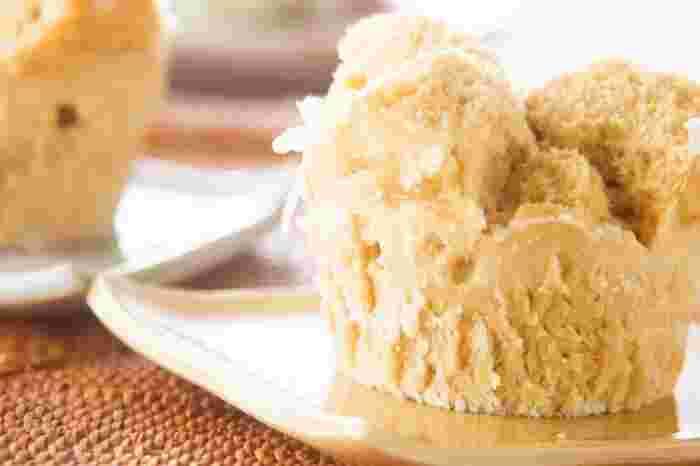 簡単・時短で、おいしい蒸しケーキの完成です。ふっくらしっとりの蒸しケーキならではの食感を味わいましょう。