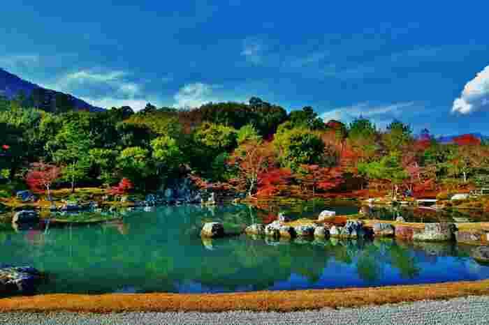 天龍寺の一番の見所が「曹源池庭園(そうげんちていえん)」。回遊式の庭園で、池の周りをめぐりながら紅葉を楽しむことができます。