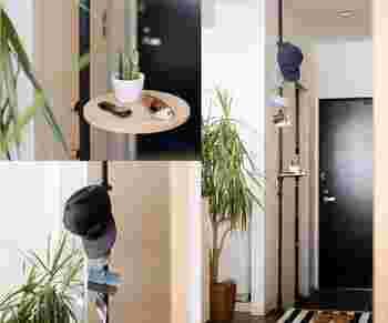 玄関先に設置すれば、お出かけ準備の身の回りの小物を置くスペースに。鍵や帽子など、お出かけ前に探しがちなアイテムを集めて置ける。