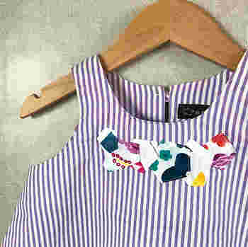 破れてしまった服の繕いにアップリケが使えることも。穴があいてしまった服も素敵にリメイクできますよ。