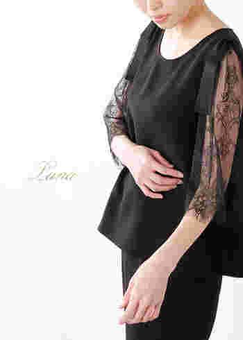 七分袖を選べば、肘から手首までのラインも、華奢な印象に。こちらのブラウスは、流れるような生地の落ち感と肩のリボンがポイント。ブラックレースも地味になりすぎず、華やかですね。