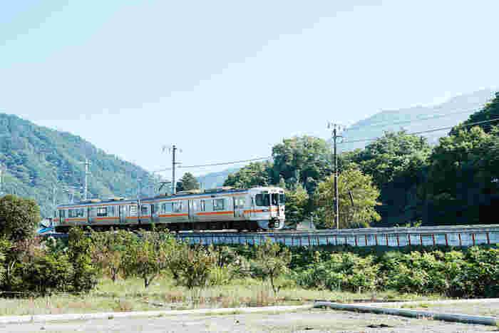 JR身延線市川本町駅の近く。緑豊かな町を2両編成の電車が走りぬけていきます