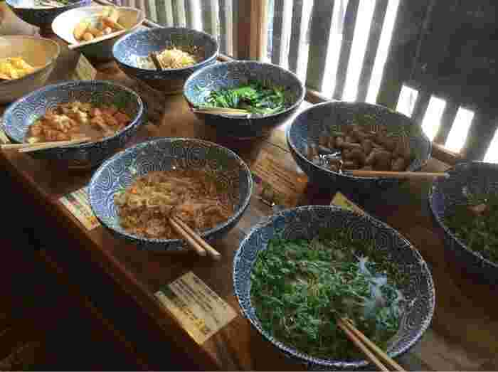 京なすの揚げ浸しやきんぴらごぼう、炒り豆腐等など、京都のおばんざいが並びます。