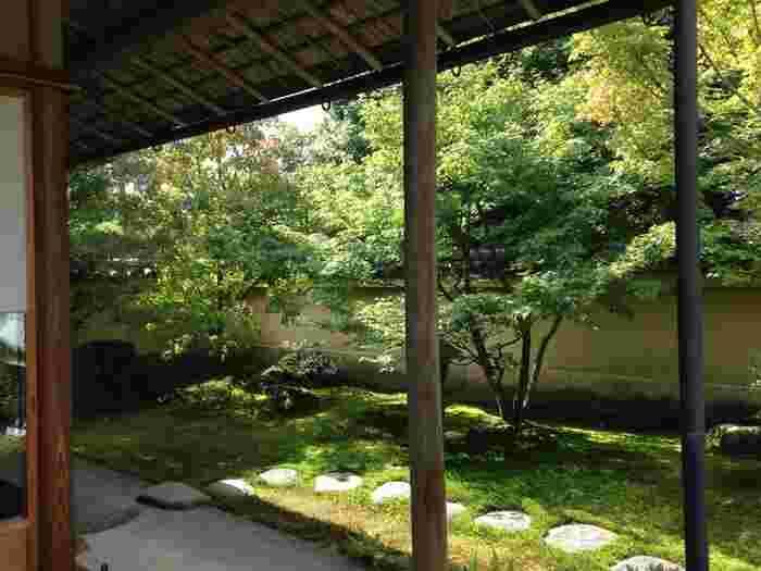 「寿立庵」では、庭園に出られる唯一の場所。ぜひ外に出てみましょう。