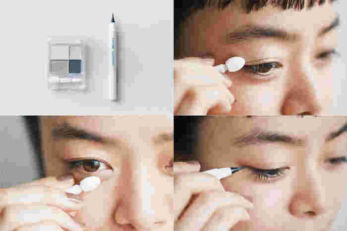 <使用アイテム> グラデーション アイシャドウ 06/リキッド アイライナー 筆ペンタイプ BK30★ 1.グラデーション アイシャドウの左上(ハイライトカラー)をアイホールに塗る。 2.さらに右上(ニュアンスカラー)を黒目の上と下まぶたの目頭に塗り、目もとの立体感を強調する。さりげなくパール感もあって、華やかさがアップ。 3.黒目の外側あたりから目尻のキワにリキッド アイライナー 筆ペンタイプを入れる。目尻から2~3mmはみ出すように描いて。