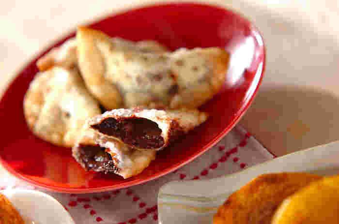 柚子ジャムとチョコレートの素敵なコラボレーション♪余りがちな餃子の皮を使った3時のおやつにぴったりの揚げ菓子です。