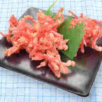 シャキシャキ感が美味しい「紅生姜の天ぷら」。立ち食いそば屋さんの「富士そば」などで人気のメニューとしてもお馴染み。ハマっている方もいらっしゃるのでは?  そんな紅しょうが天ぷらは、紅生姜に天ぷら粉をまぶして揚げるだけで、基本的に作ることができます。揚げることで、とんがった辛みがマイルドに!ピンクがかわいい紅生姜のかき揚げは、紅生姜を大量に使い切りたいときのオススメレシピです。お蕎麦やうどんのお供に◎