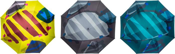 「亀の甲羅は模様の宝庫です。でもその模様をそのまま描いたら何だかちょっとイメージと違って。傘の形に合わせて甲羅の模様を入れてみました」