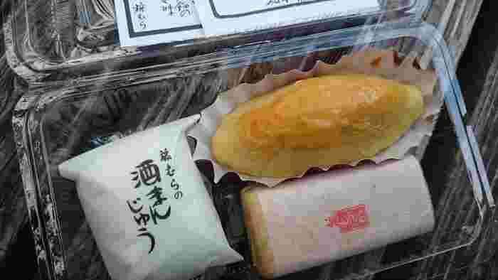 松本の水、松本の酒から生まれた小ぶりのサイズの「酒まんじゅう」(写真左)が一番人気。  他にも、柚子の風味ただよう白あん入りの小ぶりの「藤もなか」(写真右下)や、昔懐かしい味の「スイートポテト」(写真右上)もおすすめ。また、「松本スイーツコンテスト2017おみやげ部門」でグランプリを受賞したばかりの、「kaika(開菓)」も試してみましょう♪