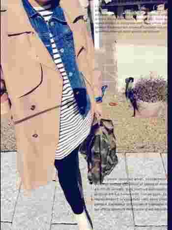 寒くなってきたらデニムジャケット+トレンチコートを合わせて。 ナチュラルなイメージが強いオーシバルですが、 かっこいい大人カジュアルスタイルにも良く合いますね^^