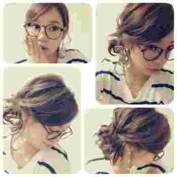髪の毛が短くてもくるりんぱをしてピンで留めれば、ロングヘアのようにも見えますね。