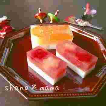 縁起物の甘味もフルーツinして可愛くアレンジ❤ 箸休めの一品なのに一気に華やかでかわいいおせちに変身♪