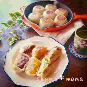 写真の左側が、小豆餡の干し芋を混ぜた具材がたっぷり入ったおやき。食感もよく、餡と干し芋、2つの甘みのハーモニーに癒されます。