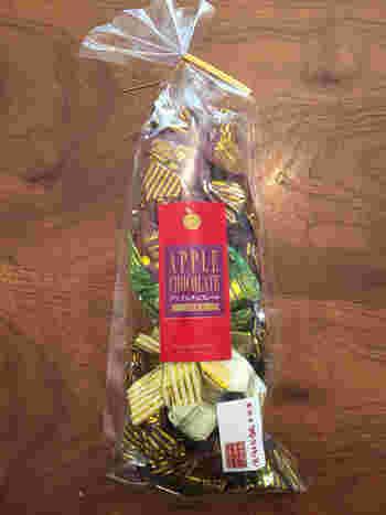 神楽小路のすぐそばにある「菓の子や」(旧・きんときや)には、チョコレートとりんご(ふじりんご)を組み合わせた『アップルチョコレート』が。