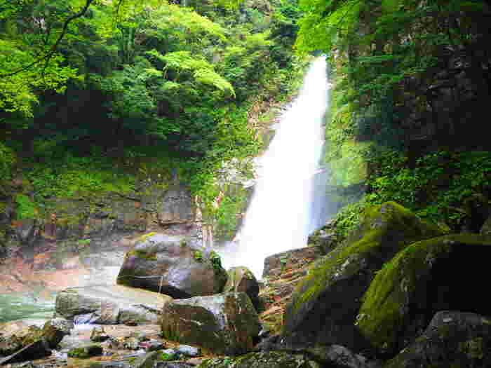 日本の滝100選にも選定されている笹の滝は、豊富な水量を誇る落差32メートルの滝です。