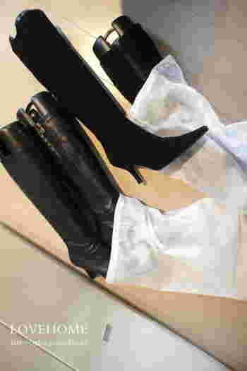 ブーツを保管する際、箱に入れるスペースが無い場合はホコリよけのためにも不織布の巾着に入れましょう。 100円ショップなどでも購入できますよ。