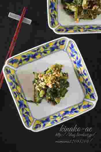 青菜のごま和えは家庭料理の定番ですよね。そのごま和えを、きなこ和えにアレンジしてみませんか。ごまとは違った香ばしさや風味を楽しめますよ。