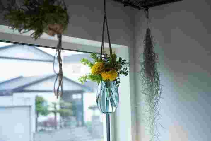 ちなみに、専用の革紐を使えば、このように吊り下げることも。陽があたりやすい場所に配したりと、より自分好みに、花のある暮らしを満喫できそうです。