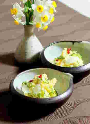 安納芋の焼き芋を使った、自然な甘さのポテトサラダ。焼き芋を冷凍しておけば、好きなときに作ることができます。